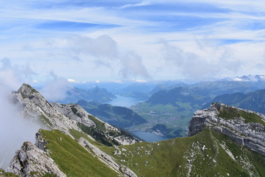 Green mountain scenery in Switzerland